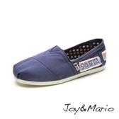 【Joy&Mario】拼布抽鬚平底休閒鞋 - 61388W BLUE 美碼7.5