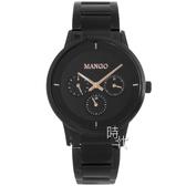 【台南 時代鐘錶 MANGO】西班牙設計美學 都會雅痞時尚三眼腕錶 MA6751M-BK 黑/玫瑰金 42mm