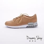 大尺碼女鞋 夢想店 MIT台灣製造柔軟透氣牛皮綁帶超輕量氣墊鞋2.5cm(41-44)【JD8705】可可