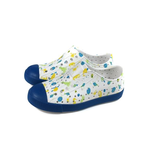 native JEFFERSON PRINT 懶人鞋 洞洞鞋 白/藍 海底生物 小童 童鞋 13100101-8970 no057