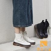 內增高馬丁靴女薄款單靴真皮小短靴英倫風短筒【慢客生活】
