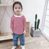 寶寶T恤女童1-3歲長袖棉質圓領條紋打底衫嬰兒春夏季新款百搭上衣【萬聖節鉅惠】