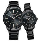 【台南 時代鐘錶 CITIZEN】星辰 光動能 PAIR 日期 光動能 鋼錶帶對錶 EW2597-86E BM7527-89E 黑