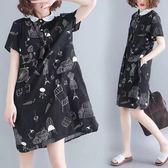 洋裝 連身裙文藝范胖mm顯瘦卡通印花中長款棉麻短袖氣質娃娃領連衣裙