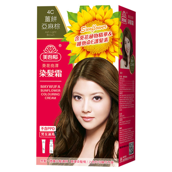 美吾髮葵花染髮霜-4C薑餅亞麻棕(40g+60g)