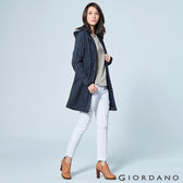 GIORDANO 女裝保暖搖粒絨收腰中長版連帽外套 - 66 標誌海軍藍/皎雪