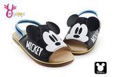 米奇拖鞋 小童 迪士尼 MIT 鬆緊帶涼拖鞋 F5280#黑色◆OSOME奧森童鞋