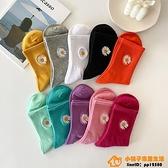 4雙裝 彩色小雛菊襪子女中筒襪潮可愛刺繡糖果色長筒襪品牌【小桃子】