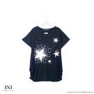 【INI】輕鬆自在、輕柔薄棉印花寬版上衣.黑色