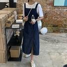 經典開叉牛仔吊帶裙牛仔洋裝連身裙【29-16-8Q6311-21】ibella 艾貝拉