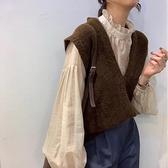 針織外套V領針織馬甲背心女2021春季新款韓版無袖慵懶風毛衣【快速出貨八折搶購】