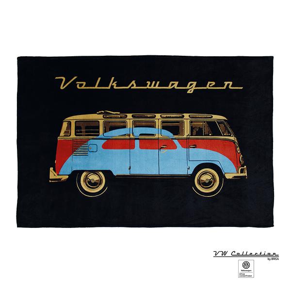 VW Brisa老福斯-T1 Bus 時尚羊毛毯-黑