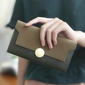 新款軟錢包女士長款個性復古簡約手拿包韓版磨砂薄款錢夾  卡布奇諾