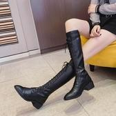 長靴 靴子女2019冬款中筒靴加絨系帶長靴秋季高筒不過膝蓋小個子騎士靴【限時八折】
