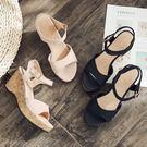 楔形鞋.MIT韓版簡約木紋底厚底楔型涼鞋.白鳥麗子