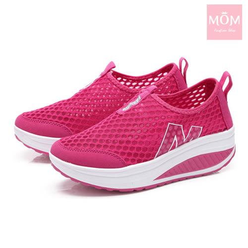 百搭時尚透氣網面M字造型美腿搖搖休閒鞋 運動鞋 桃 *MOM*