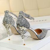高跟鞋 韓版新款銀色水晶婚鞋尖頭高跟鞋細跟百搭亮片一字扣涼鞋
