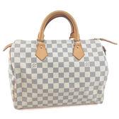 【奢華時尚】秒殺推薦!LV N41370 白色棋盤格 SPEEDY 30 手提包(八八成新)#23560