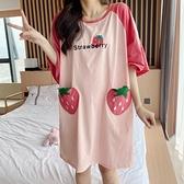 睡裙 睡裙女夏季純棉短袖韓版寬鬆加肥大碼胖mm200斤草莓睡衣女家居服  美物 99免運