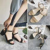 涼鞋女夏季韓版中跟一字扣帶百搭粗跟中跟鞋黑色女鞋   歌莉婭