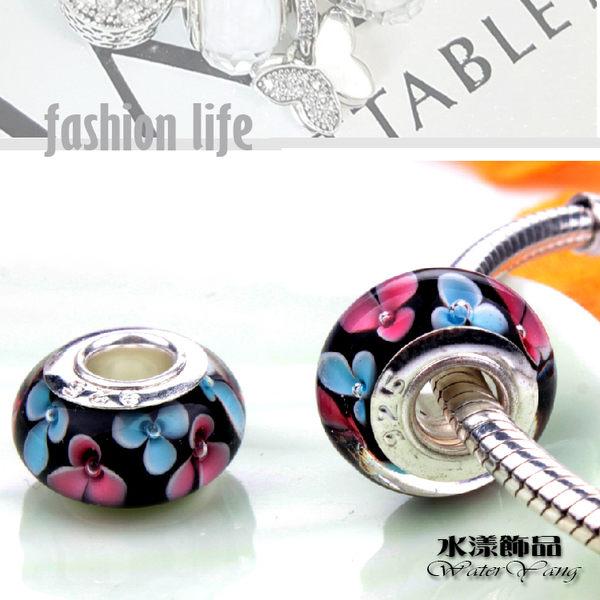 時尚黑精品花纹琉璃珠 潘朵拉風DIY串珠手鍊配件