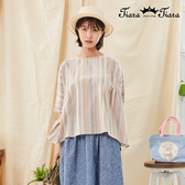 【Tiara Tiara】百貨同步新品aw 直條紋腰間兩側打摺上衣(卡其/黃)