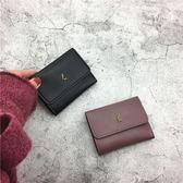 年終9折大促 超薄小錢包女短款2018新款韓版折疊軟皮夾簡約搭扣卡包迷你零錢袋夢想巴士