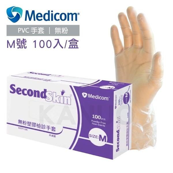 【Medicom麥迪康】無粉塑膠檢診手套 塑膠手套 M號 100入 (100入/盒x1)