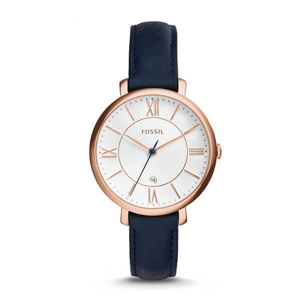 FOSSIL Jacqueline 藍色經典皮革手錶 女 ES3843