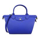 Longchamp經典Le Pliage硬皮革兩用中型水餃包(寶藍色)480601-4