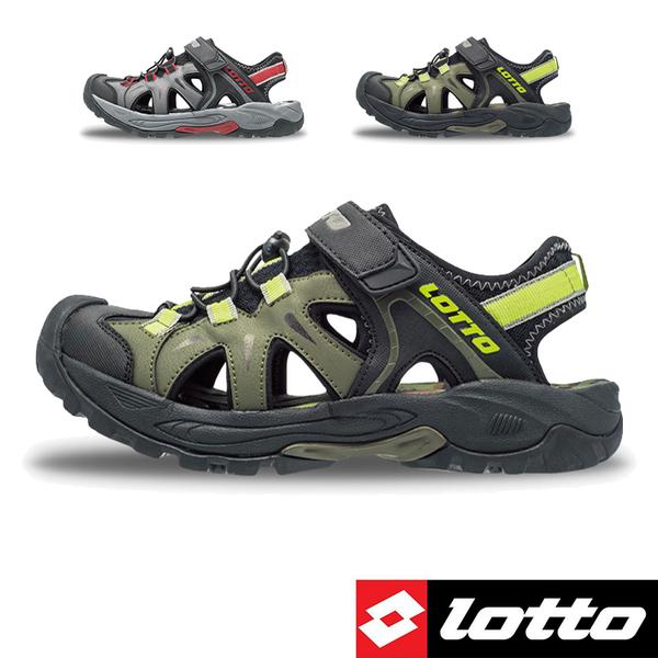 男款 LOTTO 3230 兩束扣護趾透氣排水防滑耐磨易曲折輕量軟Q水陸車鞋休閒運動涼鞋護趾涼鞋 59鞋廊