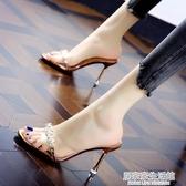 拖鞋女水鉆透明半拖外穿涼鞋2020夏季新款時裝涼拖細跟百搭高跟鞋 中秋節全館免運