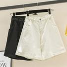 牛仔五分褲 牛仔短褲女夏季大碼高腰顯瘦寬管熱褲寬鬆中褲五分褲-Ballet朵朵