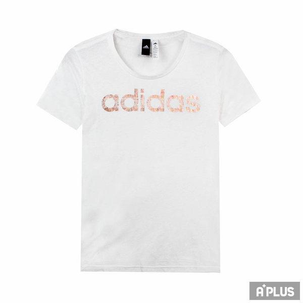 Adidas 女 FOIL LINEAR 愛迪達 圓領T(短)- CV4567