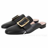 BALLY JANESSE 金色方釦小牛皮穆勒鞋(黑色) 1940527-01