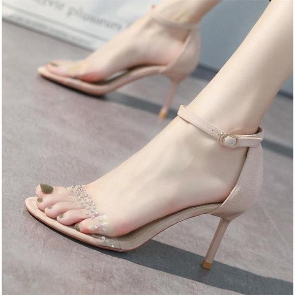 一字扣帶透明水鉆時裝涼鞋女2021年夏季新款仙女風細跟網紅高跟鞋 茱莉亞