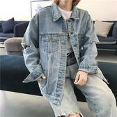 原宿風長袖寬鬆破洞牛仔外套女秋季2018新款韓版百搭學生牛仔上衣