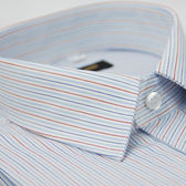 【金‧安德森】紅藍白條紋窄版短袖襯衫