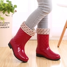 雨鞋女女士雨鞋中筒保暖暖雨鞋套加絨雨靴防滑女式水鞋高筒加棉膠鞋