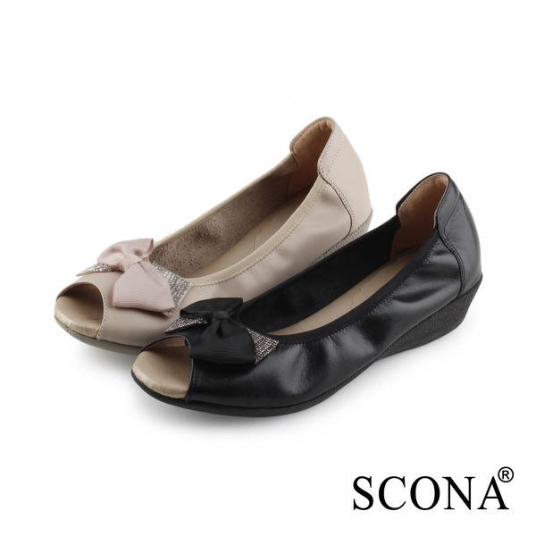 SCONA 蘇格南 全真皮 水鑽蝴蝶結楔型魚口鞋 黑色 31029-1