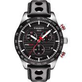 TISSOT 天梭 PRS516 系列三眼計時手錶-黑/42mm T1004171605100