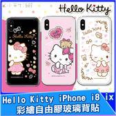 正版 Hello Kitty 彩繪自由膠玻璃背貼 iPhone i8 Plus ix 玻璃貼 背膜 機身保護貼 手機背貼