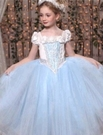 衣童趣 ♥兒童萬聖節服裝.派對舞會.聖誕節.表演仙度瑞拉/奇緣/浪漫藍紗公主禮服(連帽披風款)
