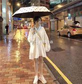 女裙  韓版長袖寬鬆娃娃裙純色V領洋裝長袖短裙裙子  瑪奇哈朵