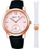 agnes b. 30周年法式獨立小秒針套錶組-粉x玫瑰金框/33mm VD78-KBV0Z(BN4013X1)
