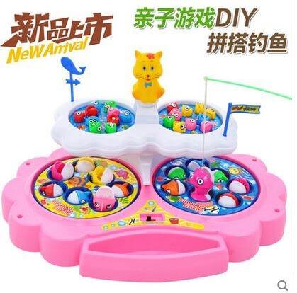 設計師美術精品館兒童電動釣魚玩具 大號小貓釣魚 雙層旋轉音樂釣魚玩具禮物