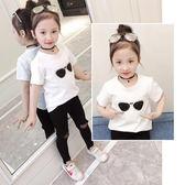女童短袖T恤2018夏季童裝中小童亮片眼鏡圖案白色半袖體恤上衣【全館免運八五折】