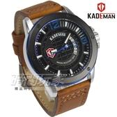 KADEMAN 格紋酷帥粗曠型男手錶 套錶 真皮男錶 日期視窗 防水手錶 K6166黑咖【時間玩家】