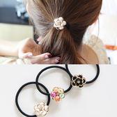【NiNi Me】 韓系髮飾 氣質甜美彩色山茶花水鑽髮束 髮束 H9255