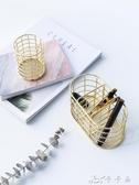 北歐極簡ins風鍍金鐵藝金色筆筒鏤空化妝品雜物收納罐創意整理筒   卡卡西